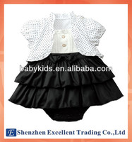 New arrival baby girls clothing set/2-piece set: round dots coat+dress romper