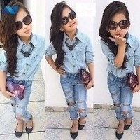 New Cute Kids Girls Fashion Two Pieces Turn-down Collar Casual Shirt and Jeans with Holes Decoration