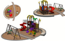 multi function good fun exercise castle style rubber-coating outdoor playground equipment
