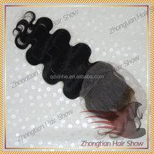 Brazilian body wave virgin human hair bangs lace closure