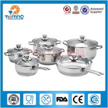 2014 mejor producto de venta 12 chinos piezas de acero inoxidable de comparar los favoritos 12 pcs cocinar ollas y sartenes