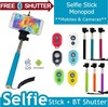 2015 new product monopod selfie stick with bluetooth shutter button remote for Iphone 5S