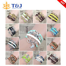 Mix Infinity love leather love owl Leaf charm handmade bracelet bangles jewelry friendship gift items