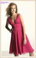 cheap short sleeveless sexy V neck red tea length chiffon cocktail dresses
