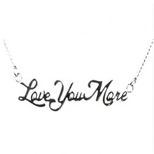 Yiwu Aceon Stainless Steel Pendant Necklace Laser Cut Letter Love You More Pendant