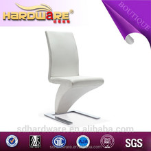 z shape modern metal dining chairs with chrome white pu leather