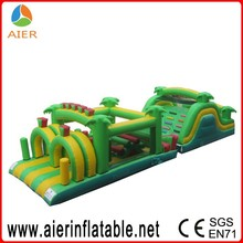 2016 wholesale water inflatable obstacle course with jungle theme, green