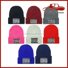 Fashion Winter Knitted Long Beanie Hat Plain Candy Solid Color Cuff Ski Hats