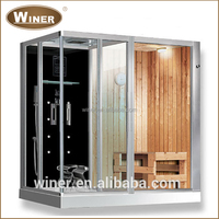 2-4 person acrylic & wooden mini home sauna and steam combined room