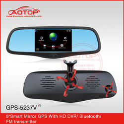 5inch Touch Screen Car Rearview Mirror Video Recorder with Bluetooth, MP5, DVR, AV-in, FM Transmitter