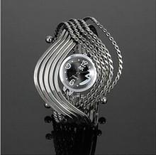 Fancy Rope Wave Bangle Stainless Steel Delicate Metal Women Wrist Bracelet Ladies Watches