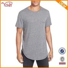 Longline cotton t shirt/elongated t shirt/oversized bulk blank pocket t shirt wholesale