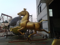 modern metal brass horse sculpture outdoor running horse sculpture