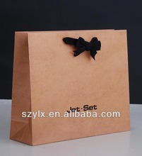 kraft paper shopping handbag with black bowknot