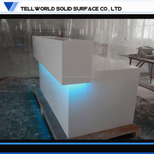 Incredible! Solid Surface modern led lighting white l shape reception desk