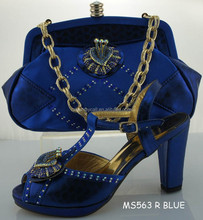Ladies Italian Shoes With Matching Bags High Quality For party Italy designer Shoes And Bag For Evening MS563 R BLUE