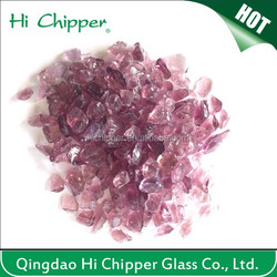 Engineered stone purple colored decorative glass chips