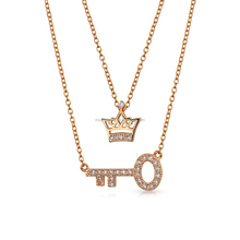 925 sterling silver rose gold necklace crown key pendant necklace