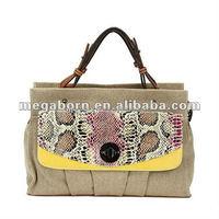 Fashion Snake-skin Canvas Detailed Wholesale Handbag Women's Bag