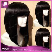 Brazilian16inch natural color human hair short bob lace front wig Side bang human hair wig for women women hair wig