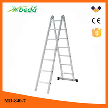 7 steps multi-purpose folding aluminum compact aluminum folding ladder for building construction (MD-840-7)