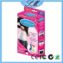trendy top/ladies belt tops/top brand belt