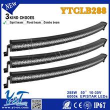 Cheap Shipping Monochromatic Soft led Light bars spot beam off road light lamp 288w double row light YTCLB288E