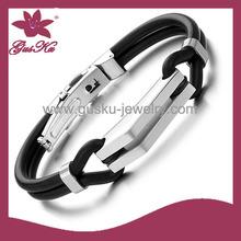 2015 STLB-087 special men's leather bracelets, Mens Bio Magnetic Bracelet, stainless steel leather bracelet