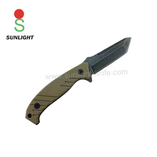 Good qualitity tan G 10 handle tanto stone washed fixed blade tactical knife hunting knife