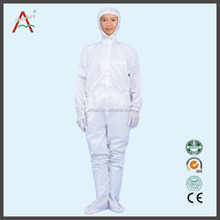ESD women white pink coveralls with hood can match boots for oil field ,chemical industry