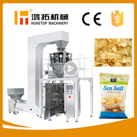 China automatic snack food packing machine/ potato chips packaging machine price with filling nitrogen device optional