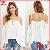 2015 New arrival tops designs fashion sexy drape open shoulder blouse for women
