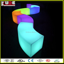 Decorative Outdoor Party Used LED Glowing Furniture LED Curved Bench/Serpentine benches For Event Lighting