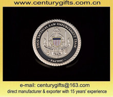 1.75-inch coin, dual plating, rope edge, 3D effect, customized designs are accepted