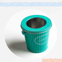 Small tin bucket with handle and PVC window lid