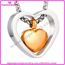IJD8078 high quality gold plated heart with silver heart cremation urn for pet