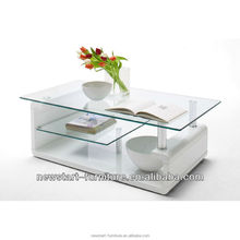 Home furniture glass top white high gloss wooden base coffee table