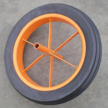 "Heavy Duty Wheel Barrow Steel Rim 15""x3"" Rubber Big Solid Wheel"