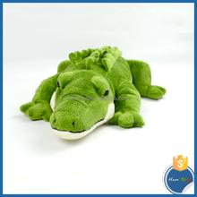 supple 100% polyester green crocodile cheap baby plush toys