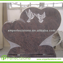 double heart shaped bird picture headstone tombstone