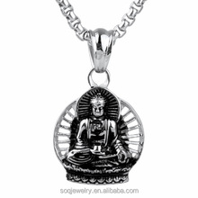 Stainless steel necklace jewelry wholesale Titanium steel Buddha Pendant restoring ancient ways buddha pendant