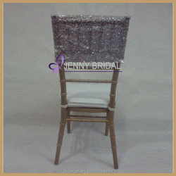 C207A Wholesale Cheap Chair Covers Silver Sequin Chair Cap Covers