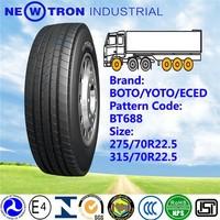 Wholesale 275/70R22.5 BOTO BT669 low price heavy duty off road back truck tyre