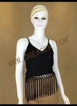 Original design ladies spaghetti straps black tassel tops sexy party girls tops