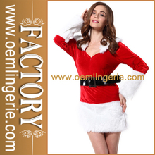 de color rojo y blanco sexy lady santa claus traje