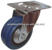 W18 Industrial Black Rubber Iron-core Fixed Caster Wheel