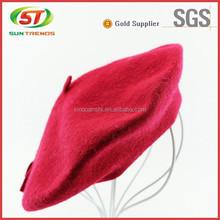 Lã moda chapéu francês da boina mulheres boina vermelha