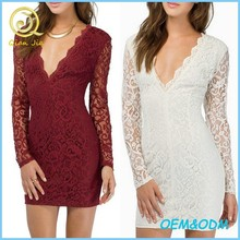 Sexy Women Deep V-neck Long Sleeves Backless Lace Dress