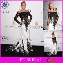 LN08 Best Selling Black And White Off The Shoulder Long Sleeve Lace Long Sleeve Evening Dress 2015