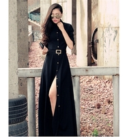 Vintage style black tall tube dress formal long sleeve gown long button line dress with high split H044